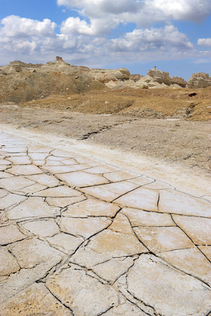 the deposits: dry and cracked land with salt deposits in the desert near the Dead Sea Israel Stock Photo