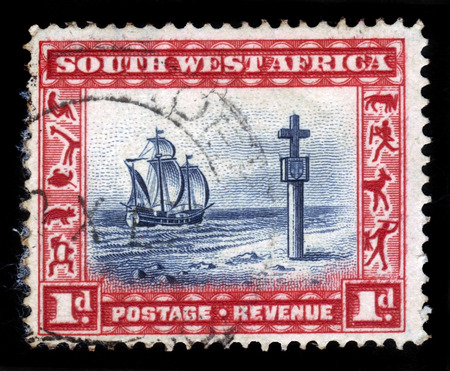 South West Africa  CIRCA 1931: A stamp printed in the South West Africa now Namibia shows an Cape Cross and sailing ship circa 1931