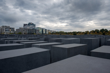 murdered: BERLIN GERMANY  13 October 2014: memorial to the murdered jews of Europe Holocaust Memorial on October 13 2014. Berlin Germany designed by architect Peter Eisenman and engineer Buro Happold