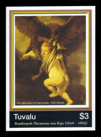 rembrandt: TUVALU  CIRCA 2006: A stamp printed in Tuvalu shows abduction of Ganymede by Rembrandt van Rijn circa 2006