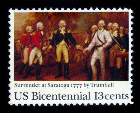 USA  CIRCA 1977: A stamp printed in United States of America shows painting Surrender of Burgoyne by John Trumbull US Bicentennial circa 1977