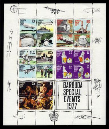 eventos especiales: BARBUDA CIRCA 1977: una hoja bloque impreso por Barbuda muestra eventos especiales 1977 alrededor del a�o 1977 Editorial