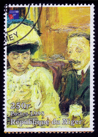 printmaker: Republic of Niger  CIRCA 1998 A stamp printed in Republic of Niger shows a painting of Le Petit cafe by Pierre Bonnard by french painter and printmaker circa 1998