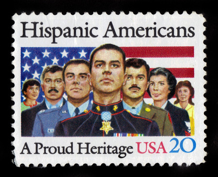 united states postal service: UNITED STATES  CIRCA 1984: a stamp printed in USA showing an image of seven proud hispanic americans marines soldiers and veterans circa 1984. Editorial
