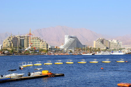 views of the luxurious hotels in popular resort - Eilat of Israel  from Gulf of Eilat Eilat, Israel 新聞圖片