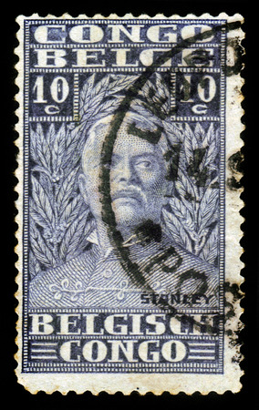 henry: BELGIAN CONGO - CIRCA 1928: A stamp printed in Belgian Congo shows portrait of Sir Henry Morton Stanley, was a welsh journalist and explorer, circa 1928 Editorial