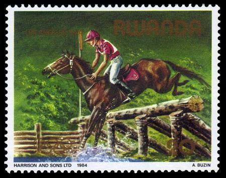 olympic games: Rwanda - CIRCA 1984: stamp printed by Rwanda, shows equestrian, Los Angeles olympic games, circa 1984