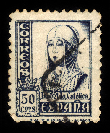 queen isabella: SPAIN - CIRCA 1937: A stamp printed in Spain shows Queen Isabella I of Castile 1451-1504, also known as Isabella the Catholic, series, circa 1937 Editorial