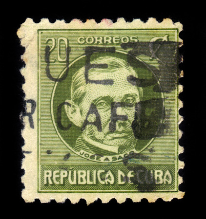 statesman: Cuba - CIRCA 1917: a stamp printed in Cuba shows Jose Antonio Saco 1797-1879,   statesman, deputy to the spanish cortes, issues of the Republic under U.S. military rule, circa 1917