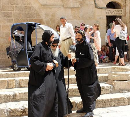 coptic orthodox: JERUSALEM, ISRAEL - June 03, 2015: Coptic Bishop visits the Holy Sepulcher in Jerusalem on June 03, 2015, Israel