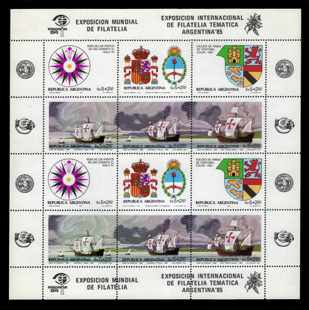 philately: Argentina - CIRCA 1984: a souvenir sheet printed in Argentina shows history of first voyage by Christopher Columbus, philately expo Argentina 85 and Spain 84, circa 1984