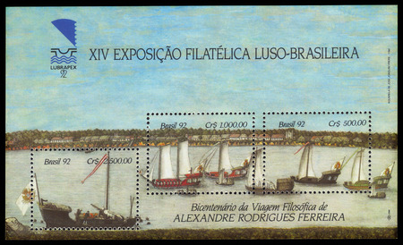 rio amazonas: Brasil - alrededor de 1992: una hoja bloque impreso en Brasil muestra los barcos de vela en el r�o Amazonas, a 200 a�os de viaje filos�fico de Alexandre Rodrigues Ferreira, alrededor del a�o 1992