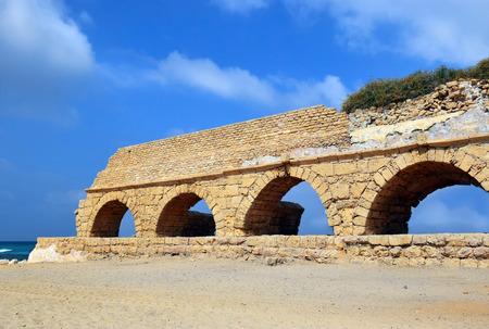 ceasarea: remains of ancient roman aqueduct at Ceasarea along the coast of the Mediterranean Sea, Israel