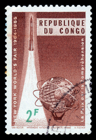 united states postal service: Republic of Congo - CIRCA 1965: stamp printed by Republic of Congo, shows emblem of the international exhibition at New York 1964-1965, circa 1965