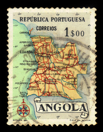 indian postal stamp: Angola - CIRCA 1955: a stamp printed in Portugal shows map of Angola, series, circa 1955