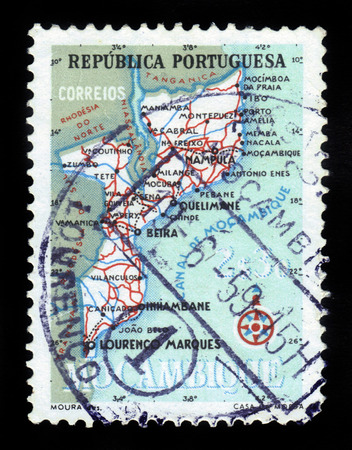 indian postal stamp: Mocambique - CIRCA 1954: a stamp printed in Portugal shows map of Mocambique, circa 1954 Editorial