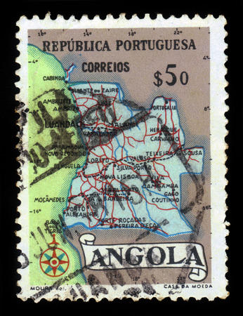 indian postal stamp: Map of Angola