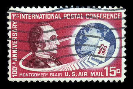 postmaster: UNITED STATES OF AMERICA - CIRCA 1963: A stamp printed in the USA shows Montgomery Blair and Globe, dedicated to the 100th anniversary of the first international postal conference in Paris, circa 1963 Editorial