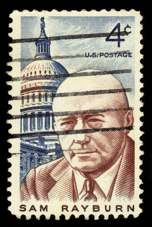 samuel: UNITED STATES - CIRCA 1962: stamp printed in United states, shows Samuel Taliaferro Sam Rayburn January 6, 1882  November 16, 1961 was a democratic lawmaker from Bonham, Texas, circa 1962 Editorial