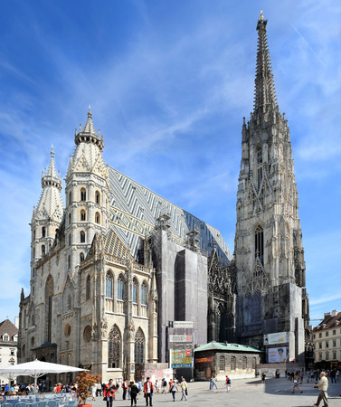 St. Stephens Cathedral and Stephansplatz square in Vienna, Austria, national symbol of Austria and symbol of the city of Vienna Editorial