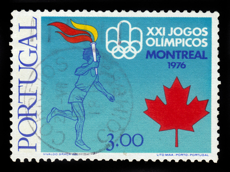 summer olympics: PORTUGAL - CIRCA 1976: a stamp printed in Portugal shows 21th Summer Olympics Games Montreal -1976, circa 1976