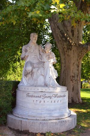 ferdinand: Vienna, Austria- 01 September, 2015 : monument of painter and writer Ferdinand Georg Waldmuller, Rathauspark on 01 September in Vienna, Austria