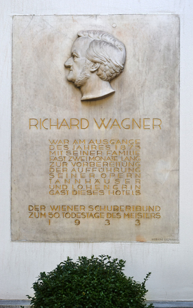 wagner: Vienna, Austria- 28 August, 2015: plaque for Richard Wagner at the Hotel Imperial on 28 August in Vienna , Austria, he and his family stayed here in 1875