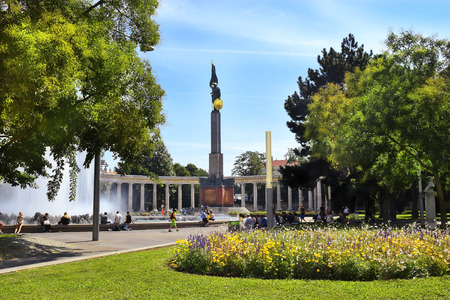 solider: Vienna, Austria- 28 August, 2015: cityscape with Soviet monument and fountain, Schwarzenberg square  Schwarzenbergplatz  on 28 August in Vienna , Austria Editorial