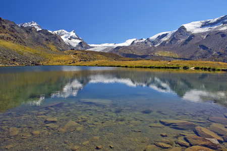 swiss alps: gorgeous summer landscape with mountain lake in the Swiss Alps