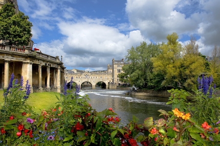 south west england: cityscape in the medieval town Bath, Somerset, England Stock Photo