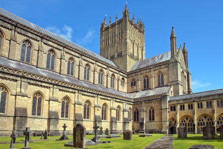 Wells Cathedral Cathedral Church of Saint Andrew, Wells Abbey and old cemetery, Somerset, England Stock Photo