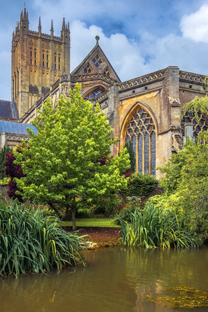 andrew: Wells Cathedral Cathedral Church of Saint Andrew, Wells Abbey and park on sunny day, Somerset, England