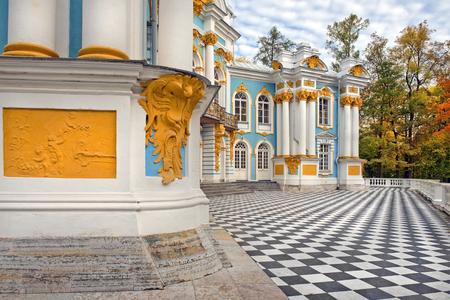 bartolomeo rastrelli: Pavilion Hermitage, architects M. Zemtsov, F. Rastrelli, Catherine Park,Tsarskoye Selo Pushkin, Russia  in autumn Editorial