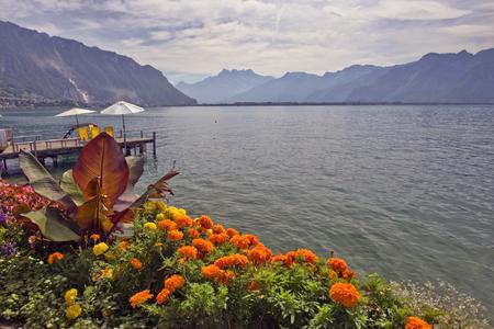 picturesque shores of Lake Geneva, Switzerland