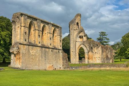 ruins of Glastonbury Abbey, was a monastery in Glastonbury, Somerset, England Stock Photo