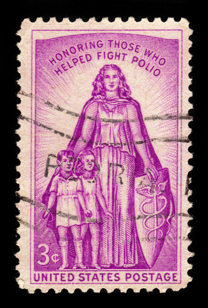 polio: USA - CIRCA 1957: A stamp printed in United States of America shows childrens and woman, those who helped fight polio, 20th anniv. of the National Foundation for Infantile Paralysis, circa 1957 Editorial