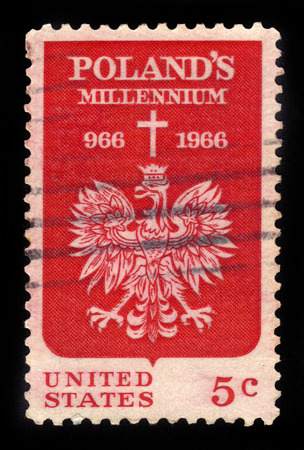 red cross red bird: UNITED STATES - CIRCA 1966: A stamp printed in USA shows Polish Eagle and Cross, polish millennium issue, circa 1966