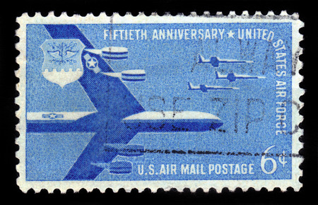 united states air force: UNITED STATES - CIRCA 1957: A stamp printed in USA shows B-52 Superfortress and F-104 Starfighters, Air Force, to celebrate the 50th Anniversary of the United States Air Force , circa 1957