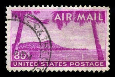 diamond head: UNITED STATES - CIRCA 1952: A stamp printed in USA shows Diamond Head, Honolulu, Hawaii, circa 1952