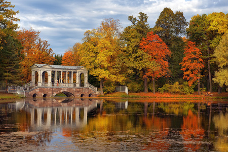 tsarskoye: golden autumn in in Catherine park, Tsarskoye Selo Pushkin, neighborhood of Saint-Petersburg, Russia Editorial
