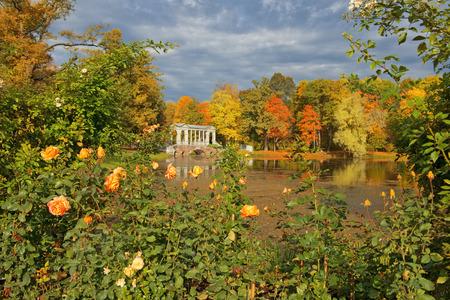 golden autumn in in Catherine park, Tsarskoye Selo Pushkin, neighborhood of Saint-Petersburg, Russia Editorial