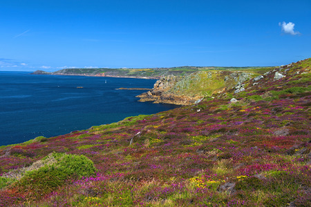 scilly: landscape of Lands End in Cornwall England, the most westerly point of England on the Penwith peninsula eight miles from Penzance on the Cornish coast