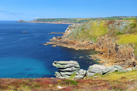sennen: landscape of Lands End in Cornwall England, the most westerly point of England on the Penwith peninsula eight miles from Penzance on the Cornish coast