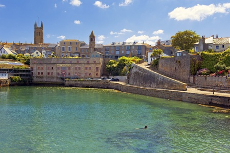 mousehole: abbey Warehouse in Penzance harbour, Cornwall, England Stock Photo