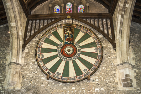 round: The Great Hall of Winchester Castle in Hampshire, England Editorial