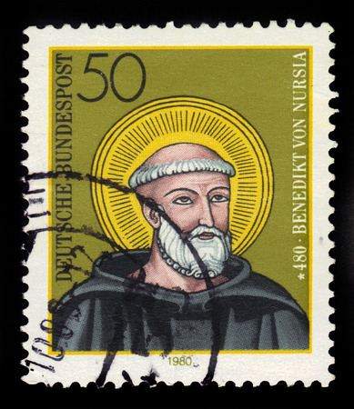hymn: GERMANY - CIRCA 1980: a stamp printed in Germany, shows portrait Benedict of Norcia, christian saint, circa 1980