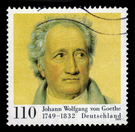 famous people: GERMANY - CIRCA 1999: a stamp printed in Germany, shows portrait Johann Wolfgang Goethe, was a german writer and statesman, circa 1999 Editorial