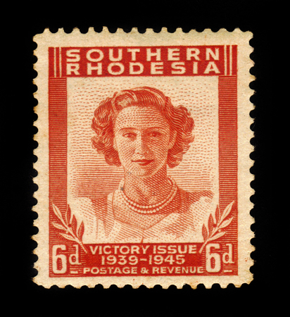 dominions: SOUTHERN RHODESIA - CIRCA 1946: A stamp printed in United Kingdom shows Princess Margaret, Victory Peace issue, the end of World War II, circa 1946 Editorial