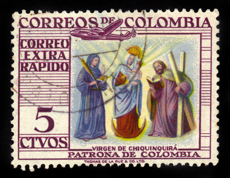 patron: COLOMBIA - CIRCA 1954: A stamp printed in Colombia shows Our Lady of the Rosary of Chiquinquira or the Virgin of Chiquinquira, she is the patron saint of Colombia, circa 1954