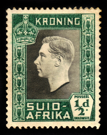 vi: SOUTH AFRICA - CIRCA 1937: a stamp printed in South Africa, shows King George VI, from the Coronation issue , circa 1937 Editorial